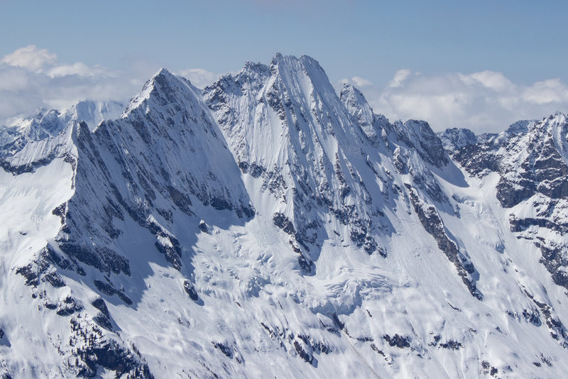 N Face of Goode from Black Peak with NE Buttress at center, 4/20/19