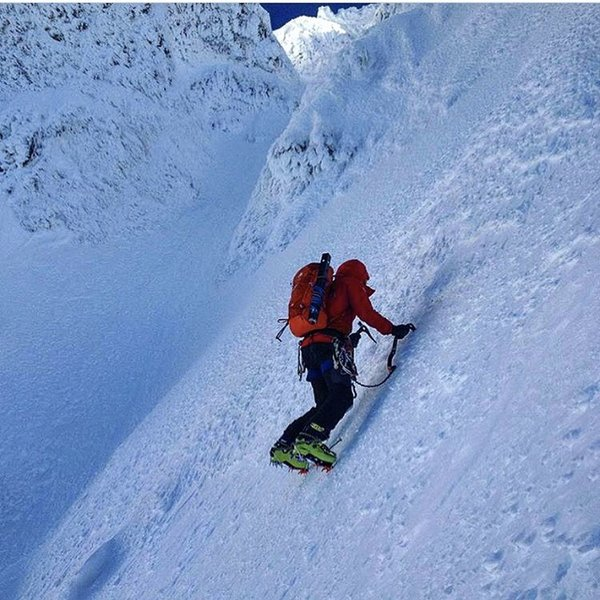 Upper steep snow slopes. A really great place to not fall...