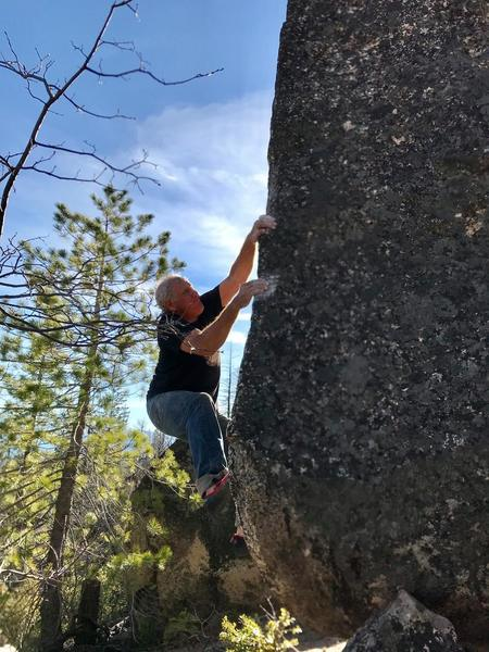 Mike A. bouldering at Little Italy. Mamma Mia Arete, V4/5