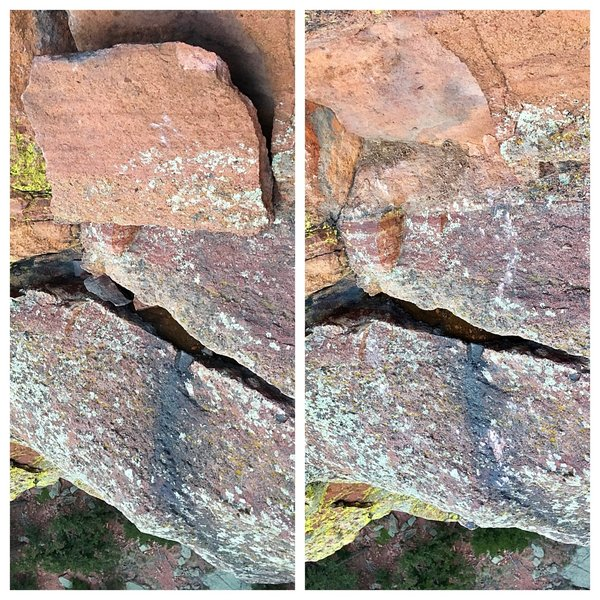 The loose block near the top of P4, just below the pin-ladder.  Early morning on 4/24/19, with the help of Mike McHugh and volunteers from ACE, we safely trundled this block and now there is a clean scar from where it once was.