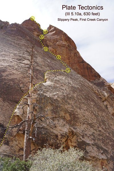 Looking up the route from the base with belays marked. Extremely foreshortened view.