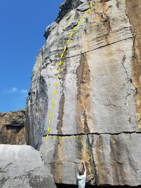 Sunlover (E3 5c). Trevallen Cliff, Pembroke