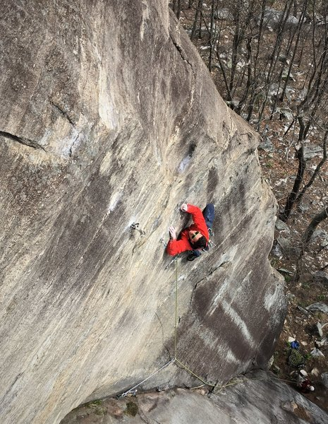 Ben on the direct start section, attempting the second ascent. Photo: Adam Tripp