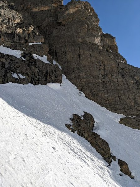 A view of the entrance to the couloir.