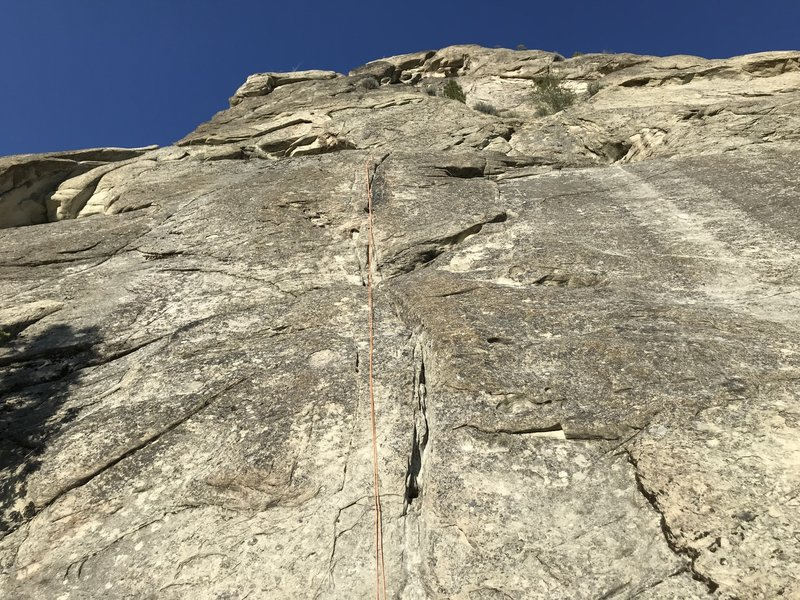 Looking up the west face of Grand Central Tower. Shady Lane is the line straight up next to the rope