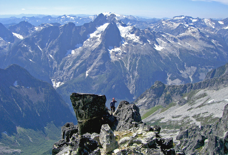 Mike summiting the route