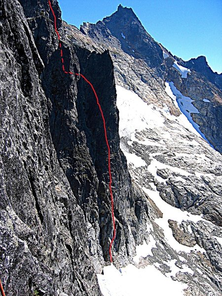 Plan 9 route from the Himmelhorn - drawn in is the Bela Lugosi Traverse to regain the main wall. Photo: J.Scurlock