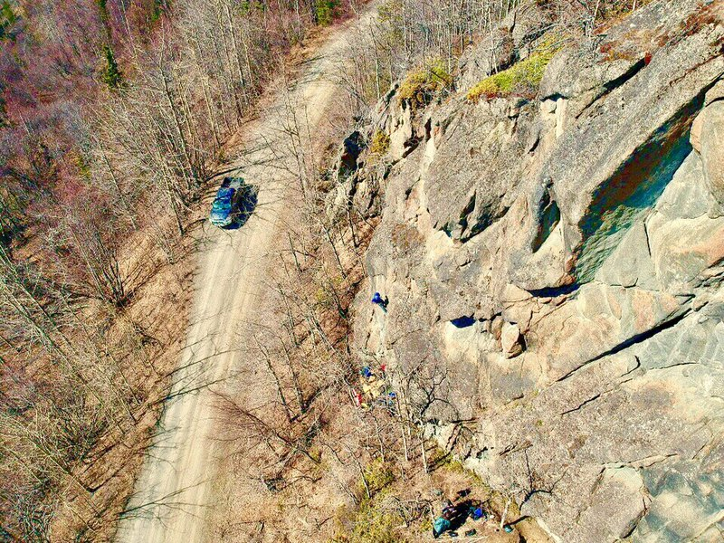 """Spenser setting """"On Your Celtic Way"""" on the weekender Wall.  Very short approach to a great climb!"""