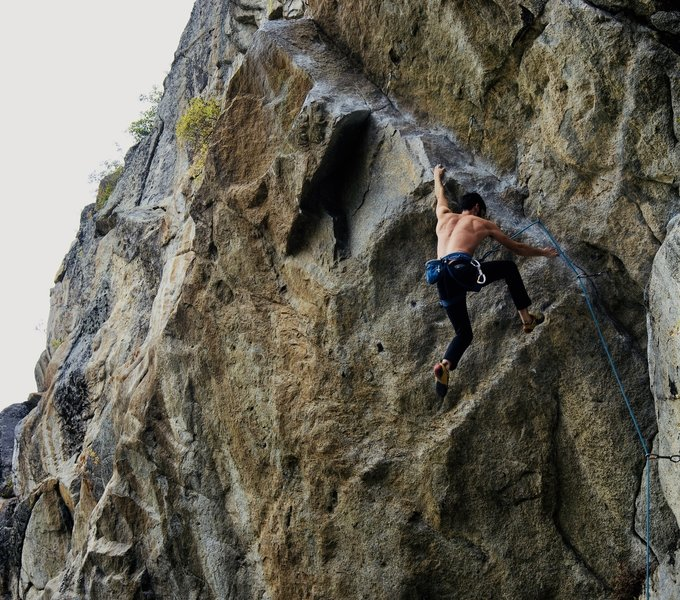 Flying through the first crux.<br> <br> Photo by: Andrea Bender.