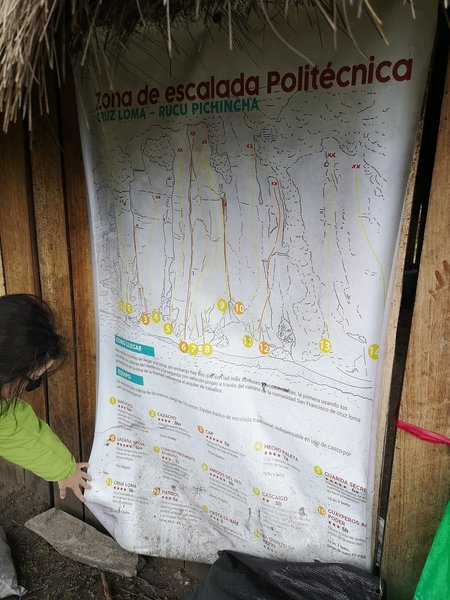 A poster that describes the rock climbing routes. The poster is located at the food stand next to the horse rental area.