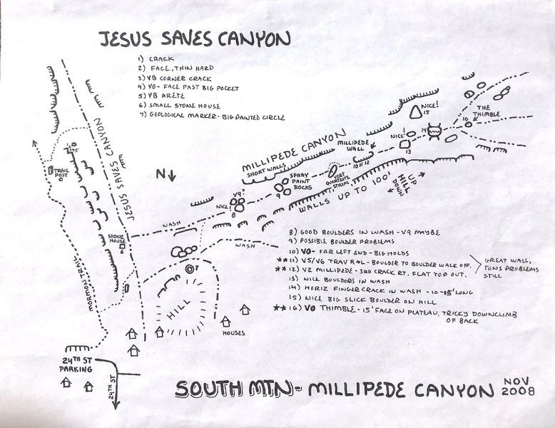 Millipede Canyon and Jesus Saves Canyon, Marty Map