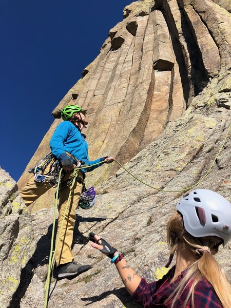 Belaying the first pitch of Durrance.