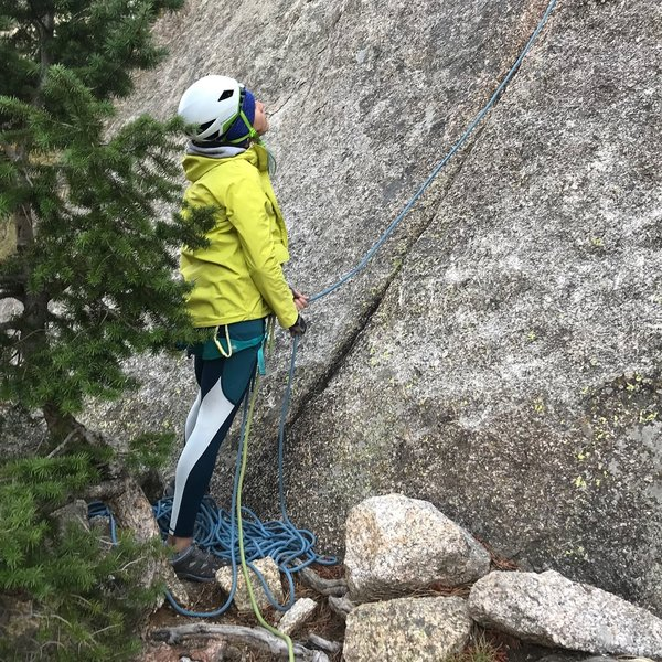 Clare with the belay at the base.