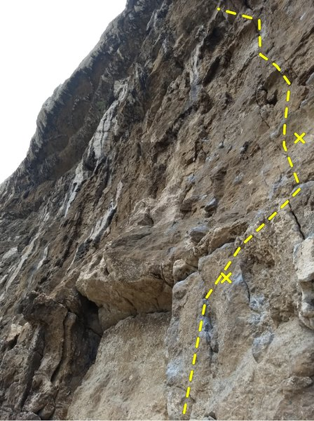 Route on right, view looking up from ledge