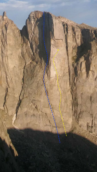 Cowcatcher - credit: Tom Cruise, thanks for the loan ... lines HIGHLY approximate, Blue = Mare Frigoris (Hughes & Ferro), Yellow = original attempt (X = high point) ... Dave Baltz could draw this line more exactly ... note ear of Wombat Spire upper left