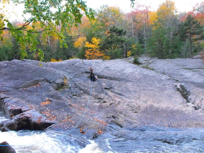 The Tyrolean traverse, pic taken in the fall of 2018 just before the Tyrolean was taken down. Only a bit of the raging river can be seen.