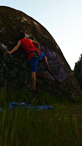 """The first ascent of """"Powerslab"""" V7"""