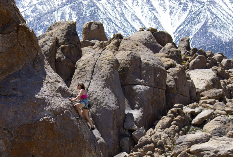 Trish Stoops, midway up the Arete.