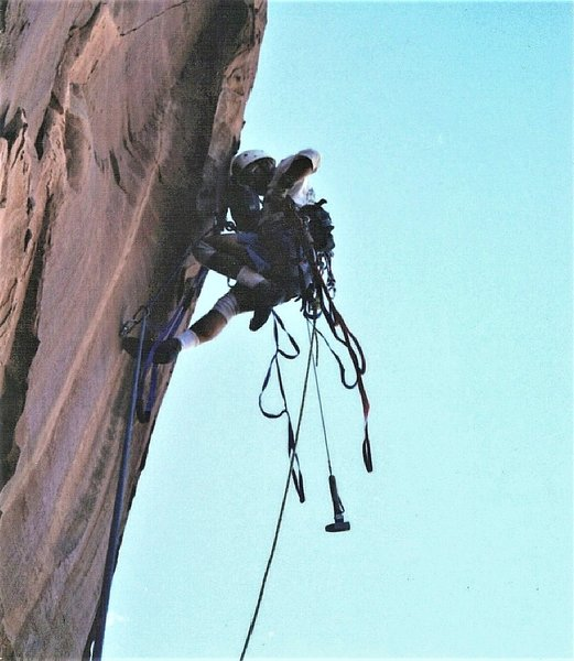 P.Ross on the first ascent. 2001.
