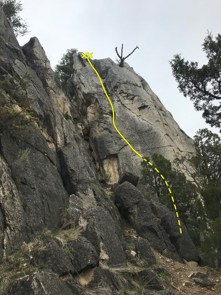 Crack to Nowhere as you approach Obscurity crag