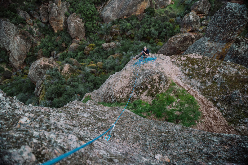 Luke belaying from top of P1. Couldn't contain his excitement as he watched me run it out. Good thing its 5.4