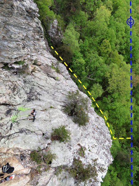 Sky-Net belay ledge with trail topo lines. Blue is main trail w/ direction of travel to Cookbook. Yellow is the trail going up Sky-Net access gully. Notice at the top of the picture just above the tip of the yellow line is someone climbing the slab.