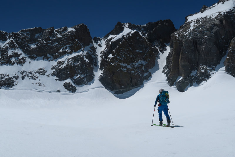 Skiing towards the U Notch in spring