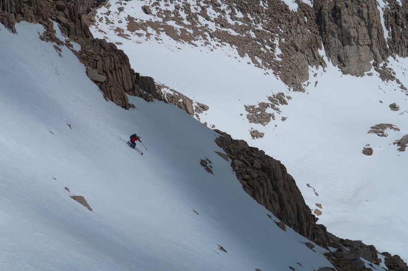 Skiing the E Couloir of Mt. Irvine