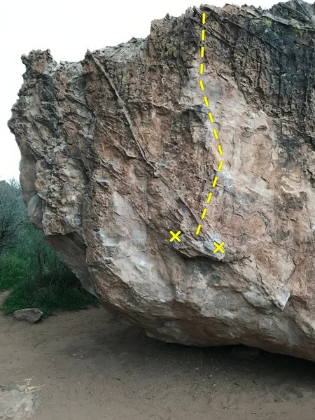 The route on the south face to right of the prow.