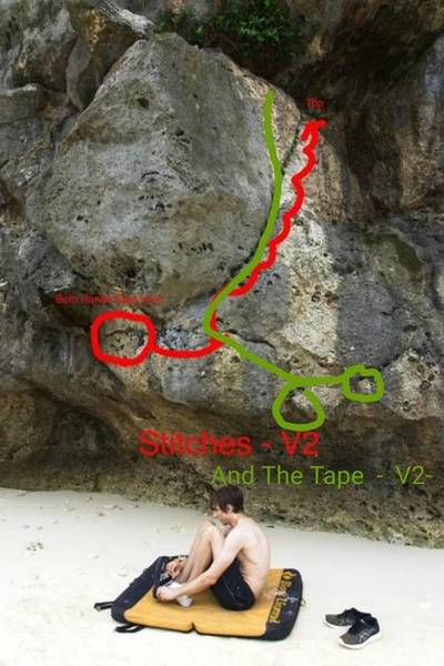 Showing the new route - And The Tape - V2 in reference to Stitches