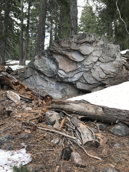 The Underclinger Boulder in early May