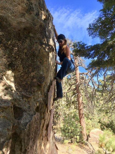 "Kelly Douglas on the ""Peerless"" boulder"