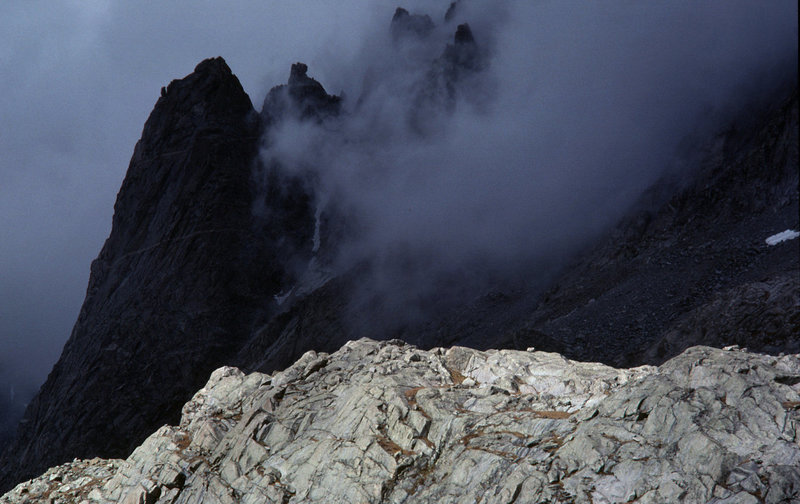 A stormy 2 weeks in Titcomb Basin - late Sept 1920. Seen here is Tower 1 on Mt Helen