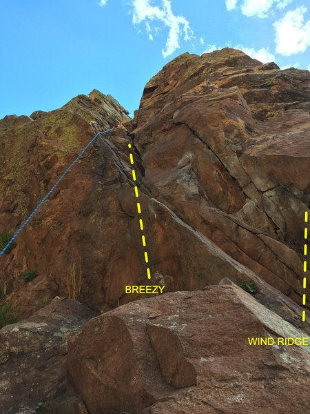 The staging for pitch 1 of Breezy is the same as Wind Ridge. Just go left instead of right. The chalked up start is for Wind Ridge, and Breezy goes into the direction of a small tree.