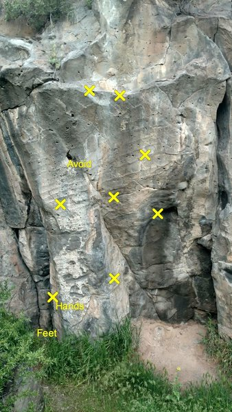 X's mark the holds, but really just avoid the big jug. Starts down left and goes up the main face.