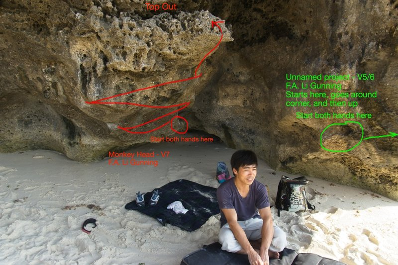 Li sitting with his new routes. This route is in green.