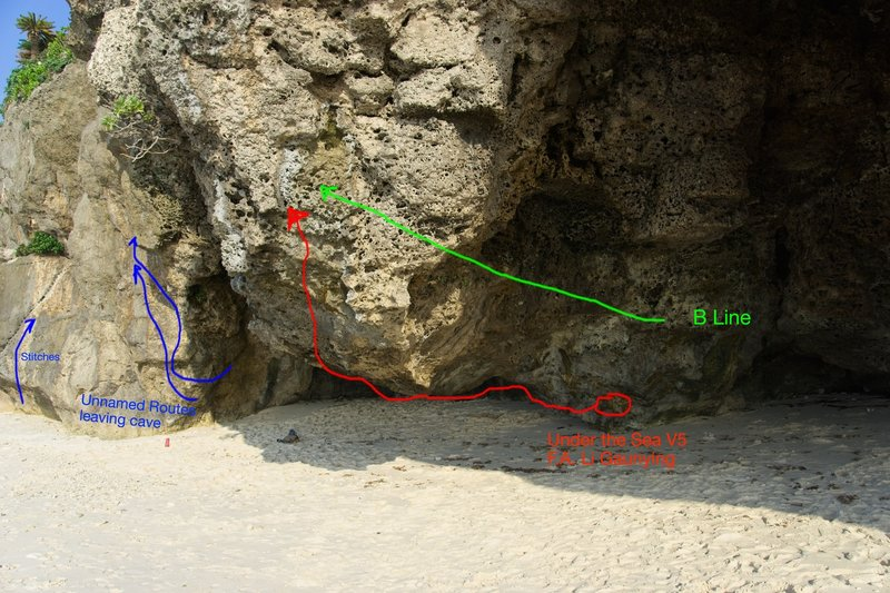 Under the Sea follows the curve of the rock ceiling (red)