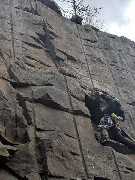 Leading the Crack with No Name... one of the better 5.9 crack leads in MN. Be solid on easy/unprotectable terrain to get the good gear.<br> Photo: Tyler Porter