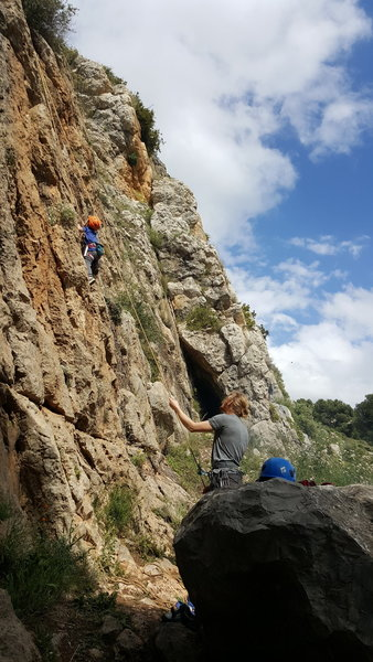 My 5 year old son climbing an easy 15 meter pitch (around 4c)