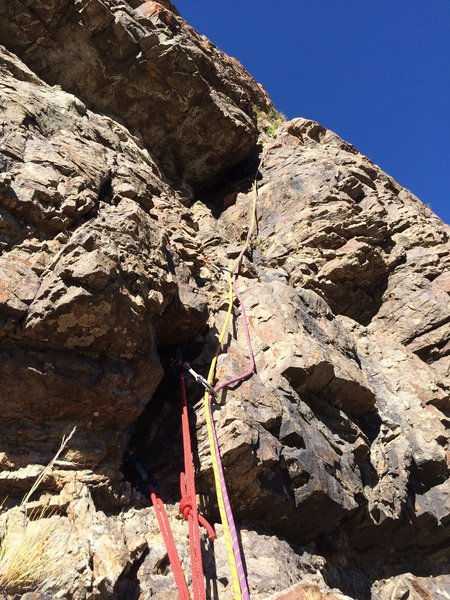 First pitch of the crack after the traverse.  There was a single piton behind a loose block at the belay which is not to be trusted