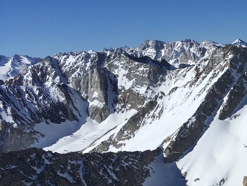 Kindergarten Couloir & Checkered Demon with North Couloir of Mt Emerson behind.