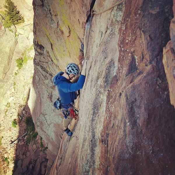 First time at Eldorado Canyon, first pitch of the day, first time multi-pitch climbing, first time following a trad lead. I'm hooked.