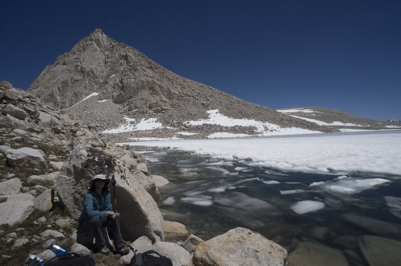 Bear Claw Spire across the largest of the Royce Lakes.