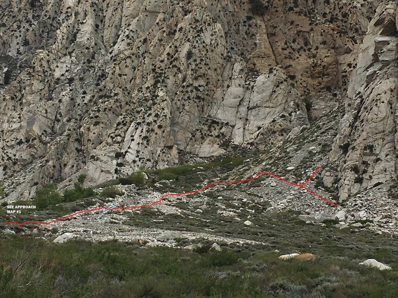 New approach to Lamb Wall & 3-Hour Buttress (2 of 2). Follow south creek-side, cross and continue up and right.