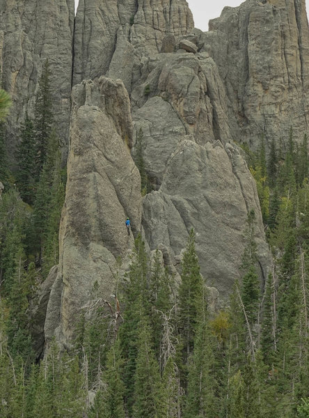 Distant view of climber