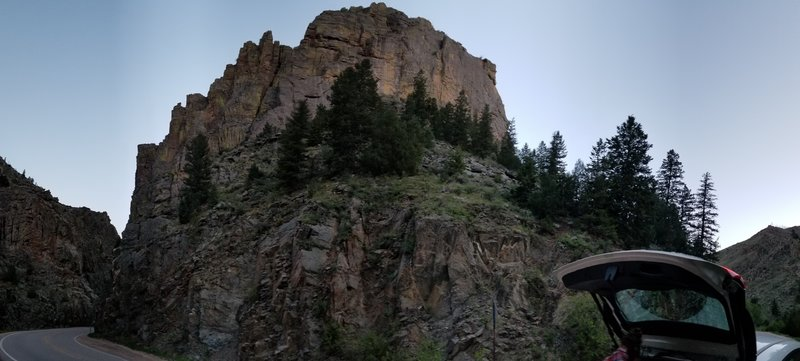 Panorama of Crystal Wall from the road.