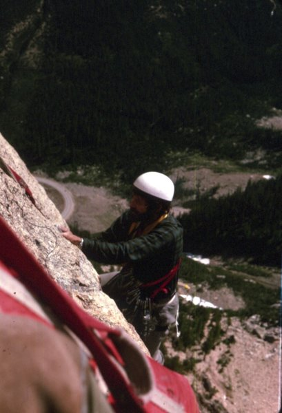 South face of South Early Winter Spire 1976 Dick Emerson climbing