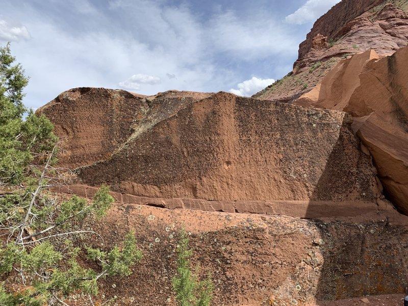 Primary west face of the Non-Descript Boulder.