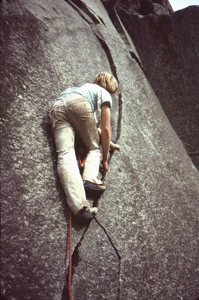 Sickle Crack mid 70's Lenny Peoples climbing