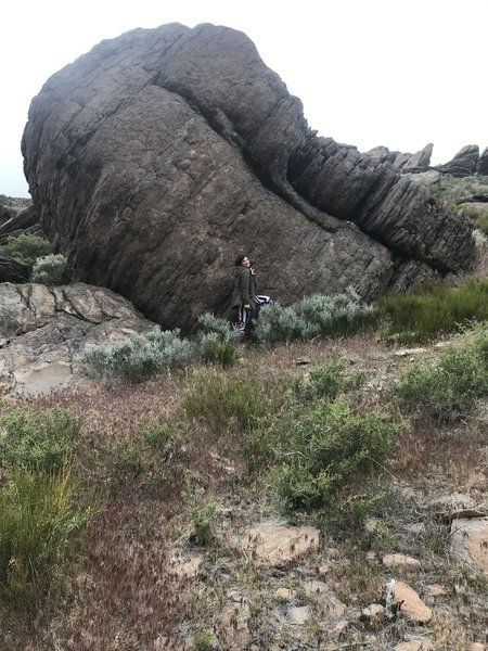 The Fallen Tower Boulder with fiance for scale. This is when viewed from the east(downhill)